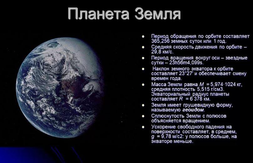 Некоторые данные о планете Земля.