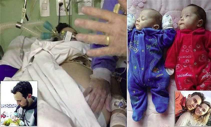 Мертвая, беременная женщина родила близняшек Анну Виторию и Асафа.