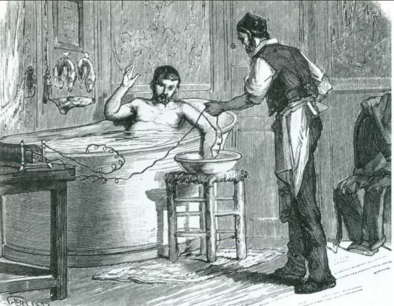 Французская электрическая баня, около 1870-х годов.