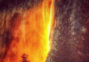 """""""Лошадиный хвост"""" — Йосемитский огненный водопад"""
