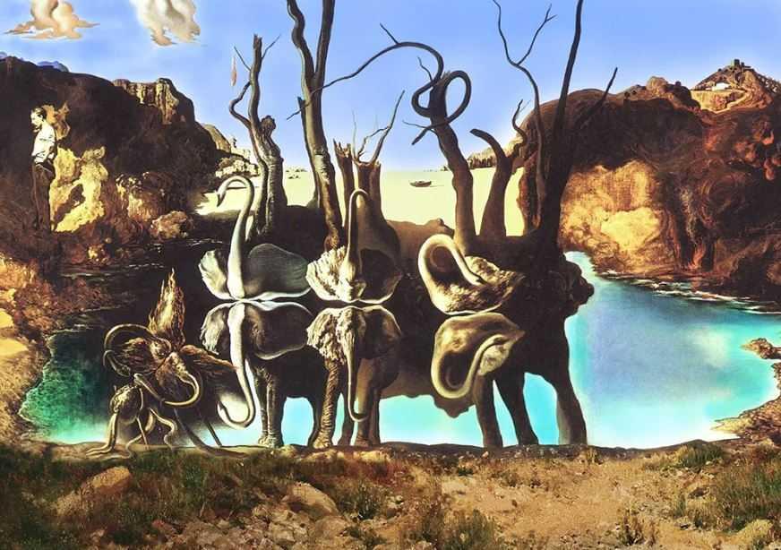 """Картина-иллюзия Сальвадора Дали, """"Лебеди, отражающие слонов""""."""