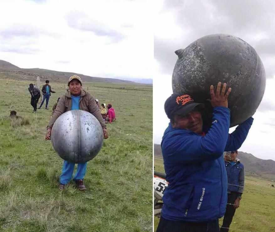 В Перу с неба упали металлические сферы с русскими надписями.