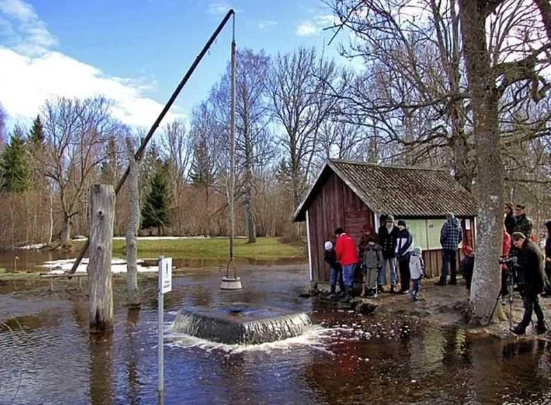 Ведьмин колодец расположен в 25 км от столицы Эстонии Таллинна. Туристов, посмотреть на извергающуюся воду из колодца, бывает очень много.