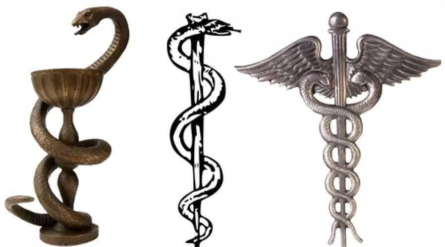 Слева: Чаша Гигиеи. В центре: Жезл Асклепия. Справа: посох бога Гермеса - Кадуцей.