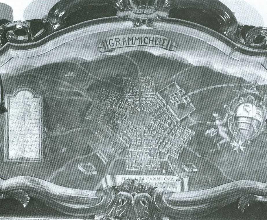Предварительный план города, вырезан на сланцевой плите.