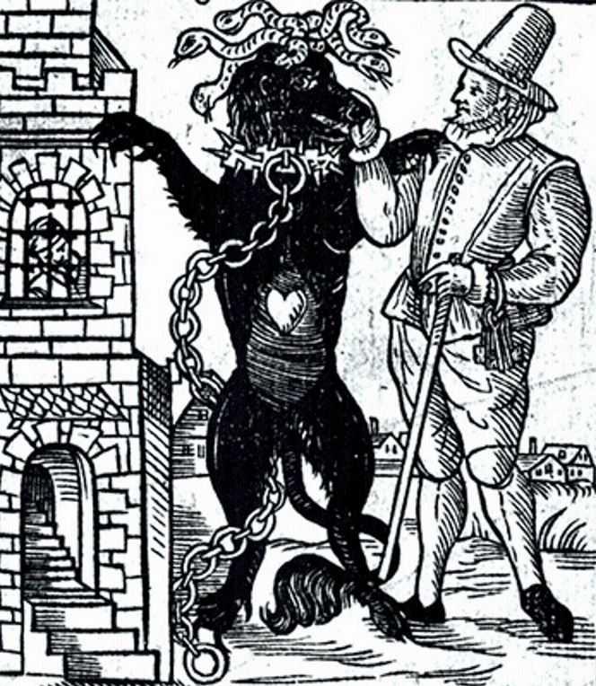 Существ описывают ка: огромные черные псы в ночи; черные силуэты.