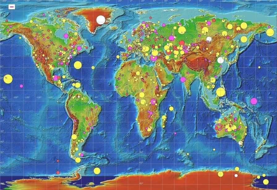 Карта кратеров нашей планеты. Их плотность на поверхности явно различна.