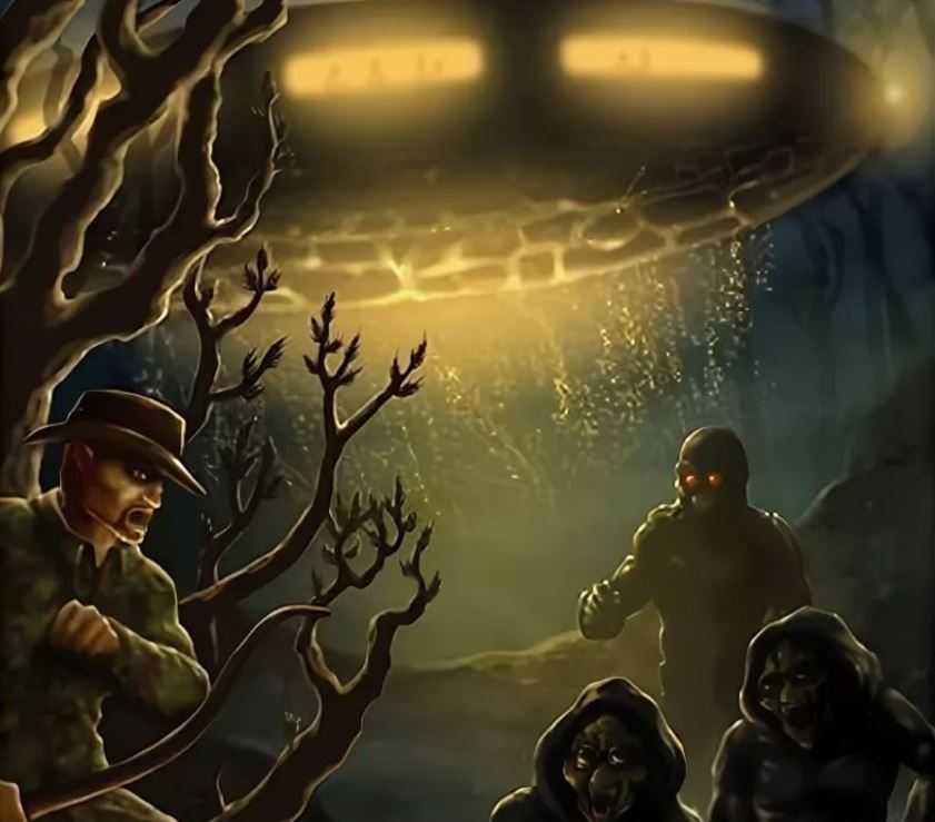 Два существа и робот пытались снять охотника с дерева. Позже присоединилась еще дюжина инопланетных роботов.