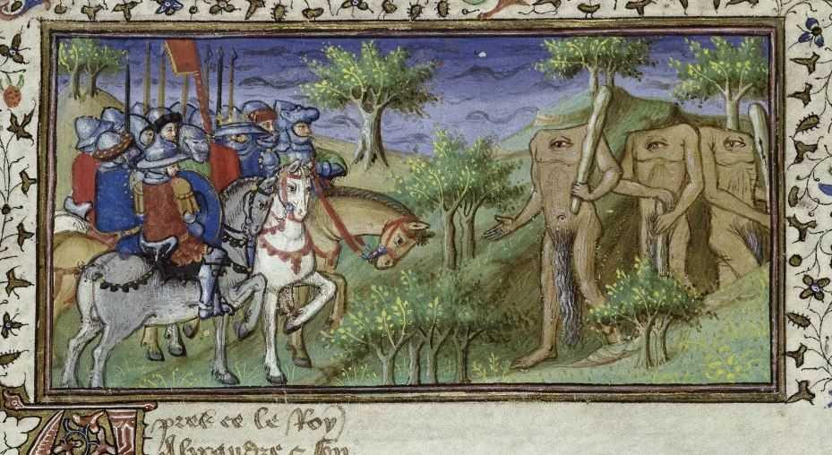 Средневековые рисунки отображающие племена безголовых людей.