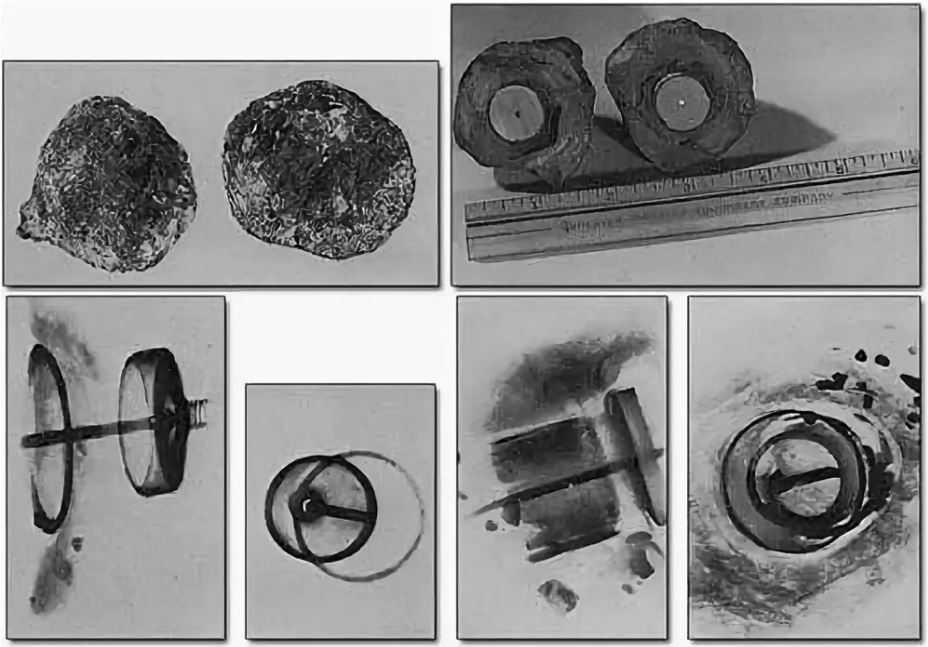Эти изображения, изначально опубликованные в журнале, посвященном паранормальным явлениям, - все, что осталось от «артефакта горы Косо». Сам объект не видели уже десятилетия. Сверху по часовой стрелке: «жеода», в которой был найден артефакт, рентгеновский снимок внутренностей и вид сбоку после того, как «жеода» была разрезана пополам.