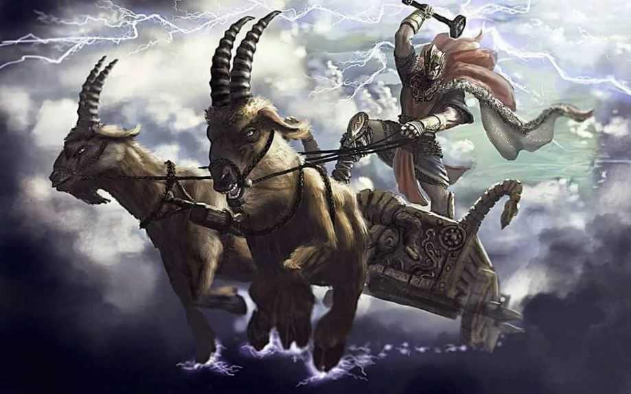 Тор на колеснице с запряженными в неё двумя козлами.