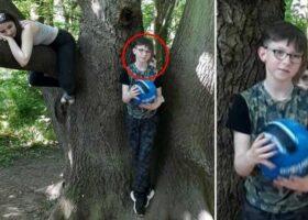 Фото призрака за девятилетним сыном в лесу