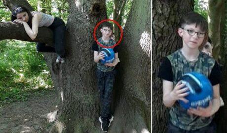Фото призрака за девятилетним сыном в лесу.
