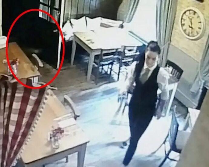 Камера видеонаблюдения запечатлела призрак девушки.