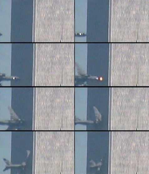 Покадровое исчезновение самолета в здании.