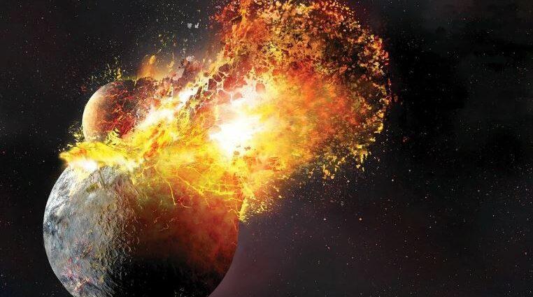 Планета Тейя и Земля: столкновение.