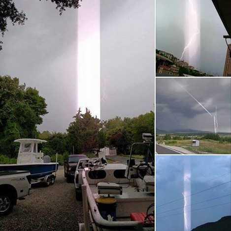 Этот луч света был сфотографирован в августе 2016 года в Форт-Майере, Флорида. Потоки энергии могут быть спровоцированы молниями или штормами (слева).