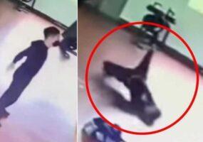 Призрак нападает на мужчину в тренажерном зале